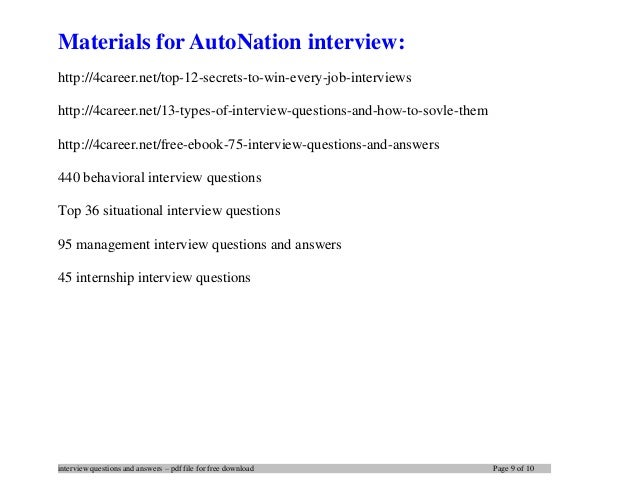 AutoNation interview questions and answers