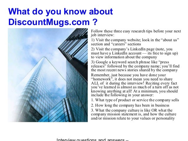 DiscountMugs com interview questions and answers