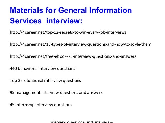General Information Services interview questions and answers
