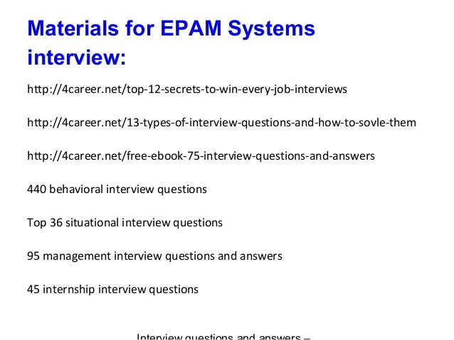 EPAM Systems interview questions and answers