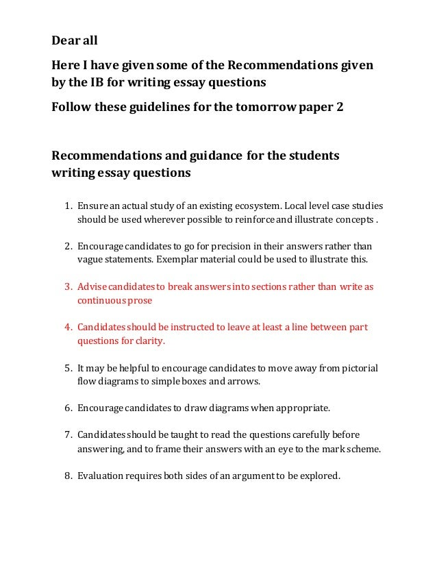 file ib recommendation for the essay questions dear all here i have given some of the recommendations given by the ib for writing