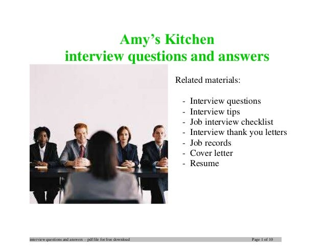 Amy\'s Kitchen interview questions and answers
