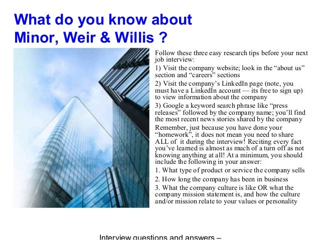 minor  weir  u0026 willis vinterview questions and answers