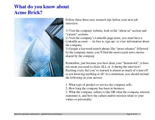 Acme Brick interview questions and answers