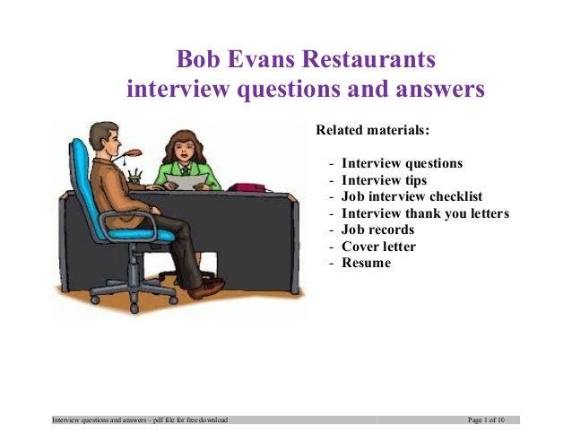 bob evans restaurants interview questions and answers related materials interview questions interview tips