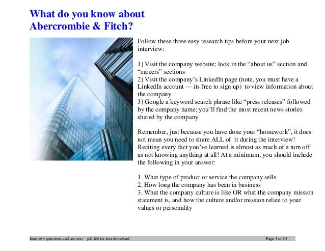 Abercrombie Amp Fitch Interview Questions And Answers