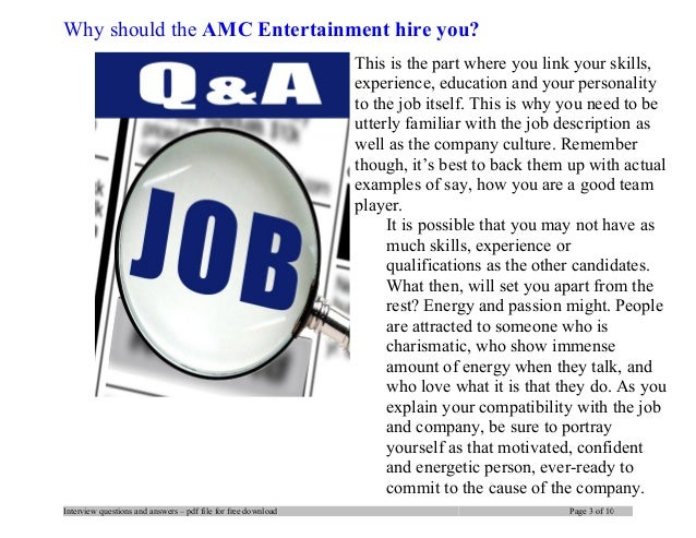 AMC Entertainment interview questions and answers