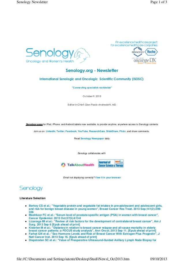 """Senology.org - Newsletter International Senologic and Oncologic Scientific Community (ISOSC) """"Connecting specialists wor..."""