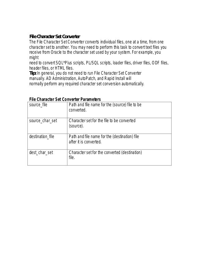File Character Set ConverterThe File Character Set Converter converts individual files, one at a time, from onecharacter s...