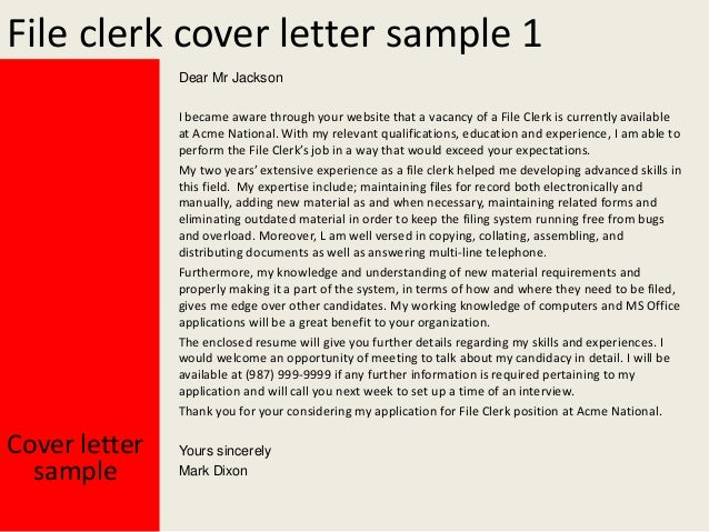 Cover Letter For File Clerk