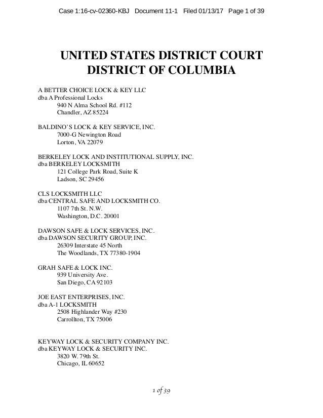 UNITED STATES DISTRICT COURT DISTRICT OF COLUMBIA A BETTER CHOICE LOCK & KEY LLC dba A Professional Locks 940 N Alma Schoo...