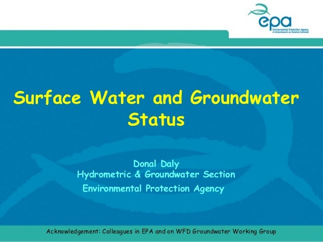 Surface Water and Groundwater Status Donal Daly Hydrometric & Groundwater Section Environmental Protection Agency  Acknowl...
