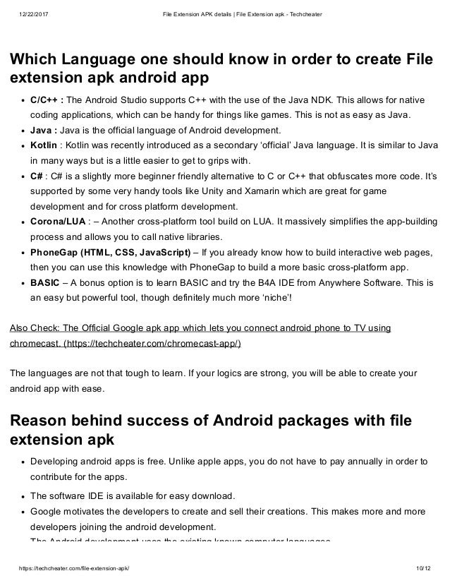 Earn with Android - File extension apk details techcheater