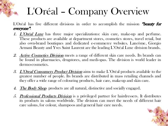 """loreal brand overview Loreal brand overview essay brand overview this report the topic """"what is brand image choose a brand and develop a strategy to promote that brand."""