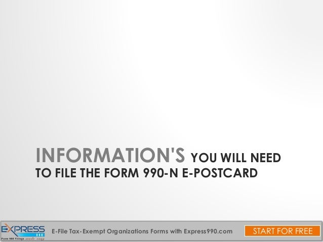 File Form 990 N For Tax Exempt Organizations
