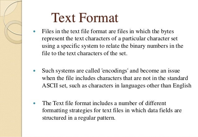 file formats and its types