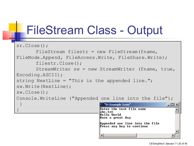 filestream write append