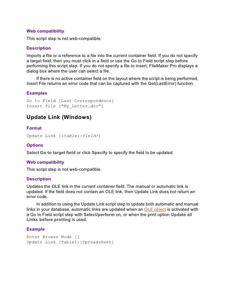 Filemaker 8, script steps reference