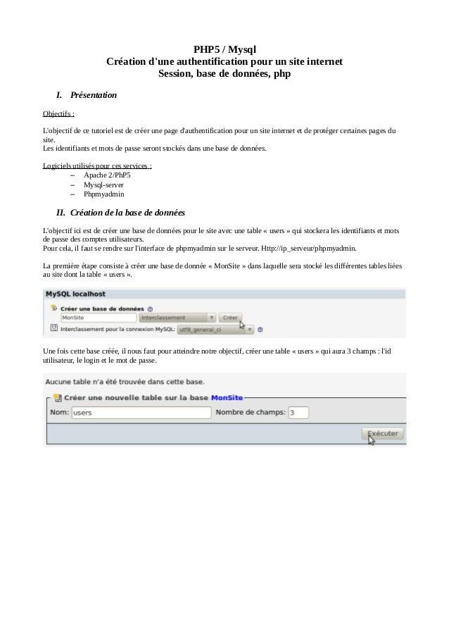 PHP5 / Mysql Création d'une authentification pour un site internet Session, base de données, php I. Présentation Objectifs...