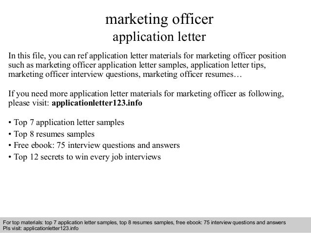 Marketing Officer Application Letter