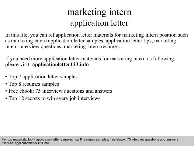 Marketing intern application letter interview questions and answers free download pdf and ppt file marketing intern application letter thecheapjerseys Gallery