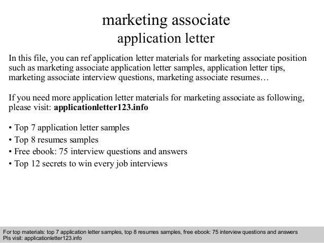 Marketing Associate Application Letter