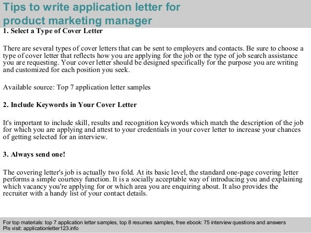 Product Marketing Manager Application Letter