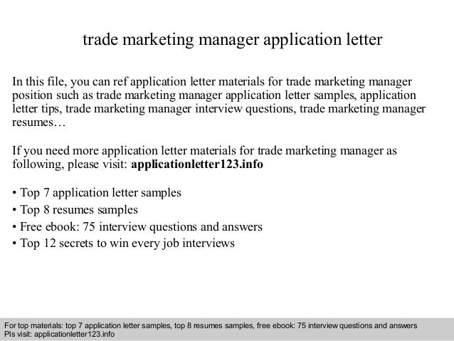 Trade Marketing Manager Application Letter