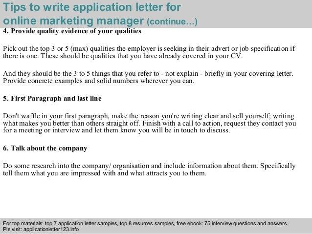 Online Marketing Manager Application Letter