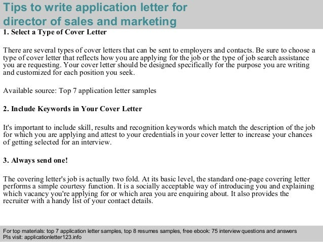 cover letter for job application sales and marketing - director of sales and marketing application letter