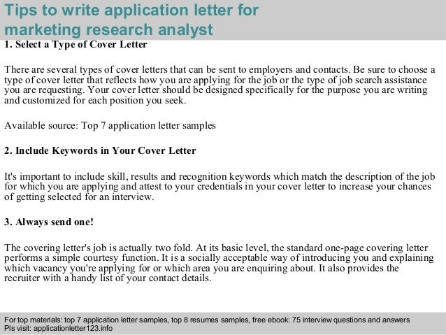 marketing research analyst application letter