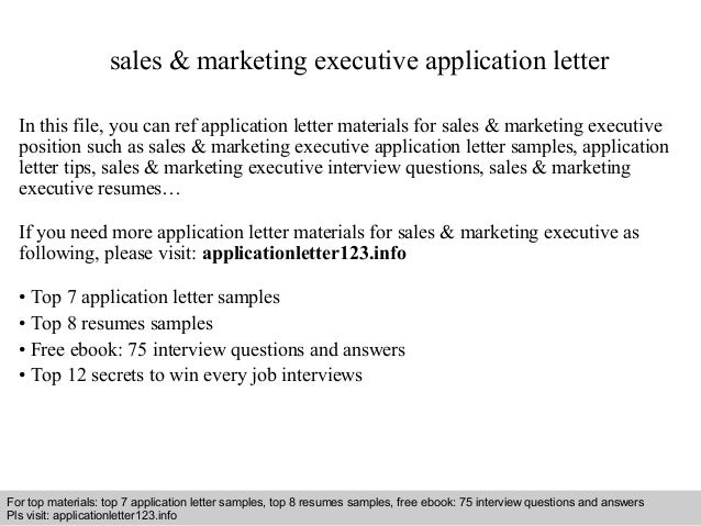 Sales Marketing Executive Application Letter