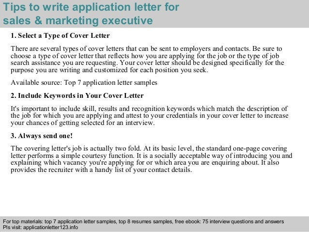 Sample Application Letter Marketing Executive