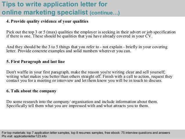 online marketing specialist application letter