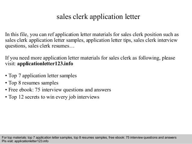 Sample Cover Letter For Sales Clerk Position