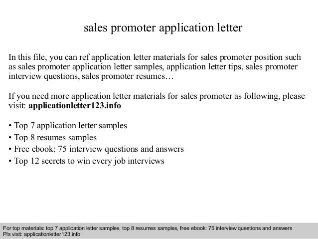 sales promoter application letter