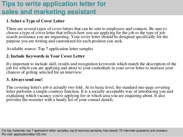 Sales And Marketing Assistant Application Letter