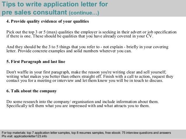 pre sales consultant application letter