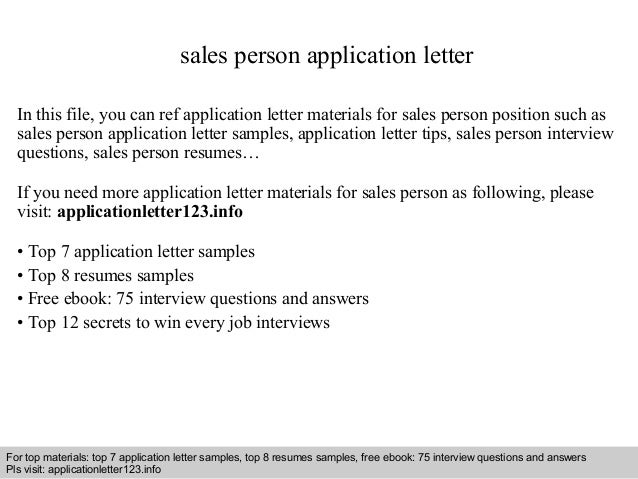 sales person application letter in this file you can ref application letter materials for sales