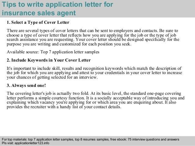 insurance sales agent application letter