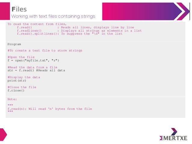Python programming : Files
