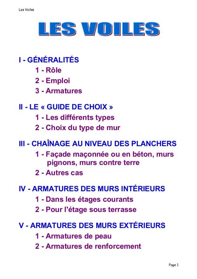 Les VoilesI - GÉNÉRALITÉS     1 - Rôle     2 - Emploi     3 - ArmaturesII - LE « GUIDE DE CHOIX »      1 - Les différents ...