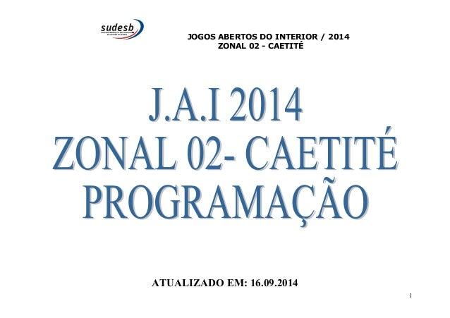 JOGOS ABERTOS DO INTERIOR / 2014  ZONAL 02 - CAETITÉ  ATUALIZADO EM: 16.09.2014  1