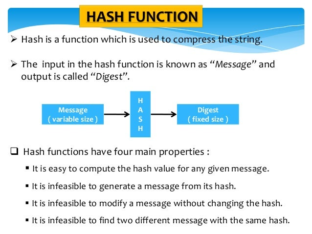 """HASH FUNCTION  Hash is a function which is used to compress the string.  The input in the hash function is known as """"Mes..."""