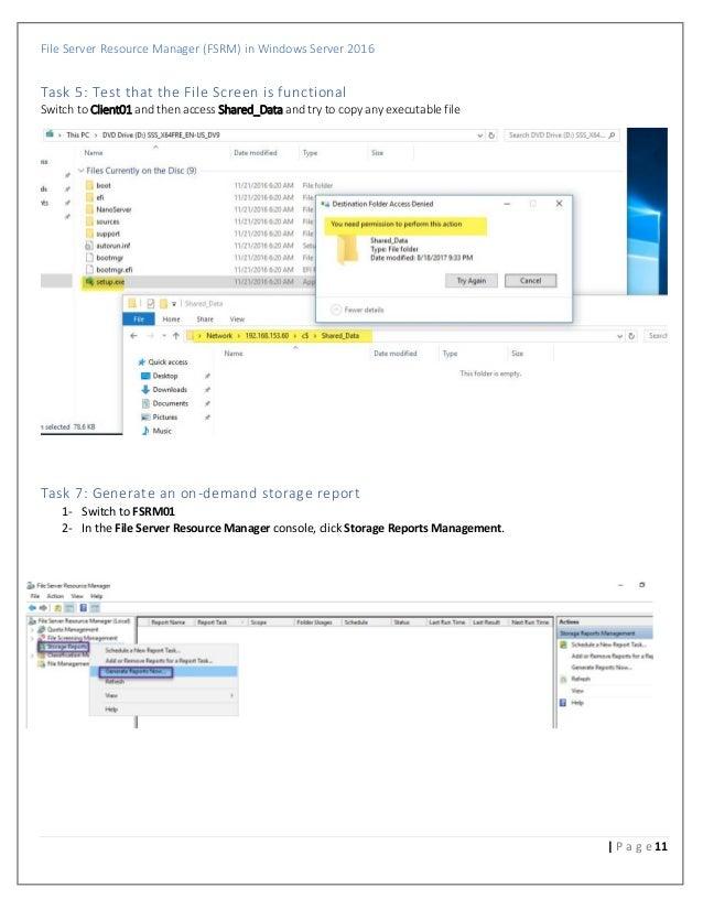 File server resource manager (fsrm) in windows server 2016