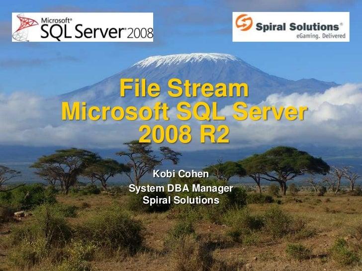 File StreamMicrosoft SQL Server       2008 R2          Kobi Cohen     System DBA Manager       Spiral Solutions