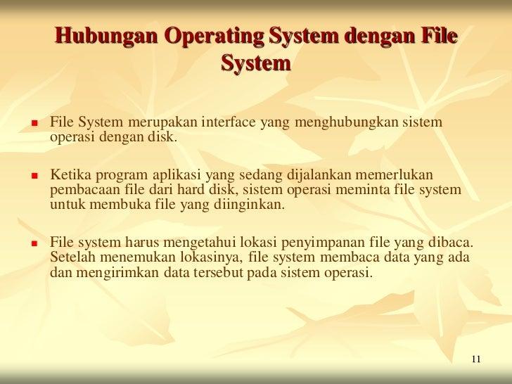 Hubungan Operating System dengan File                  System   File System merupakan interface yang menghubungkan sistem...