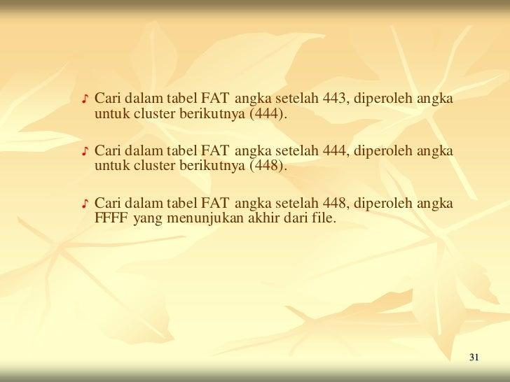 ♪   Cari dalam tabel FAT angka setelah 443, diperoleh angka    untuk cluster berikutnya (444).♪   Cari dalam tabel FAT ang...