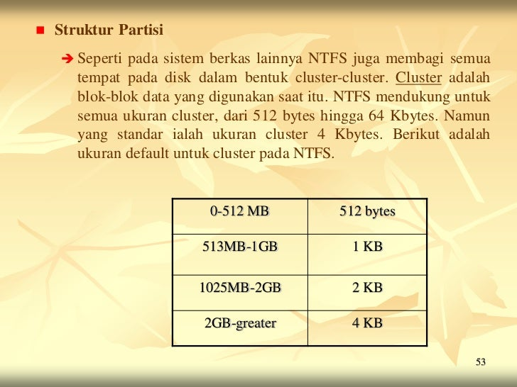    Struktur Partisi     Seperti  pada sistem berkas lainnya NTFS juga membagi semua       tempat pada disk dalam bentuk ...