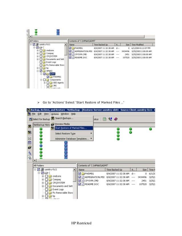 file system restore netbackup